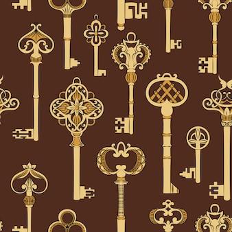 Бесшовные с антикварными ключами