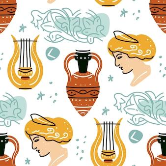 여자 amphora 하프 패턴의 골동품 동상으로 완벽 한 패턴