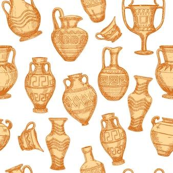 Бесшовный фон с эскизом старинные вазы