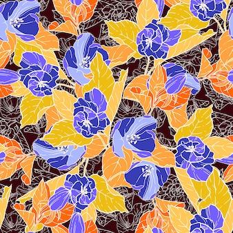Бесшовный фон с яблони. круглый калейдоскоп цветов и цветочных элементов