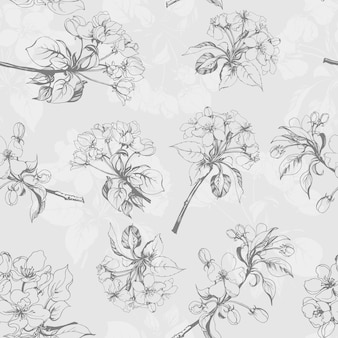Seamless pattern with apple flowers.