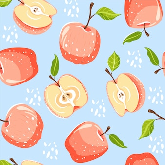 Seamless pattern with apple fruits.