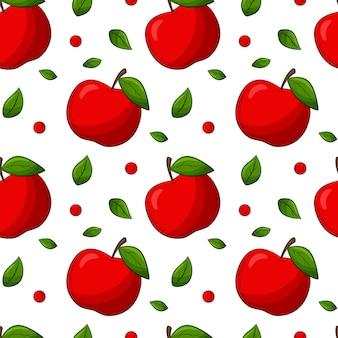 リンゴと葉のシームレスなパターン。線形スタイルの色付き要素