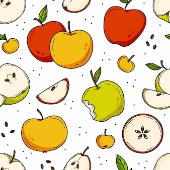 Seamless pattern with apples in cute doodle style illustration on white