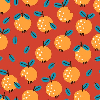Seamless pattern with apples on red background