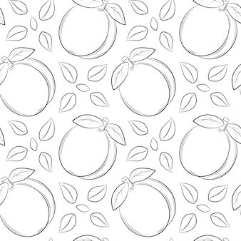 Seamless pattern with apricots, peaches and leaves. black and white hand-drawn linear elements