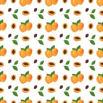 살구, 씨앗, 잎이 있는 매끄러운 패턴입니다.