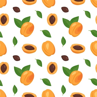 Seamless pattern with apricots, seeds and leaves.