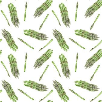 Seamless pattern with asparagus hand drawn