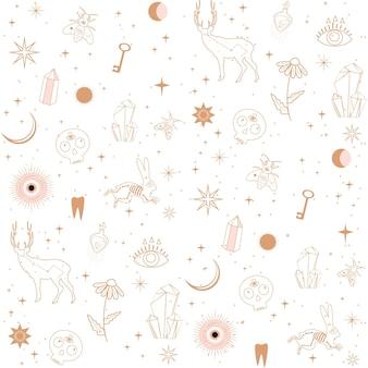 動物、宇宙オブジェクト、クリスタルと占星術、難解な、宇宙の概念とのシームレスなパターン。一本の線のスタイルで作られたミニマルなオブジェクト。
