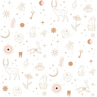 Seamless pattern with astrology, esoteric and space concept with animals, space objects, crystals. minimalistic objects made in the style of one line.