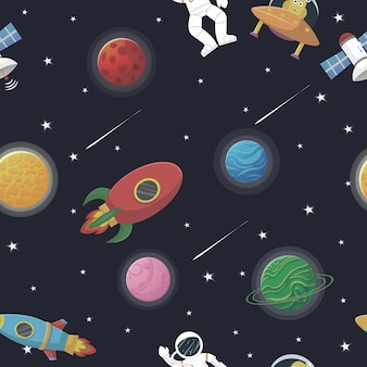Seamless pattern with astronaut with rocket and alien in the open space