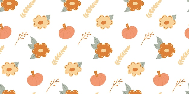 シンプルなスカンジナビアスタイルの秋の要素とのシームレスなパターン-カボチャ、秋の花、ハーブ、枝、白い背景の葉。感謝祭、ハロウィーンのためのかわいい季節の子供っぽいテクスチャ。