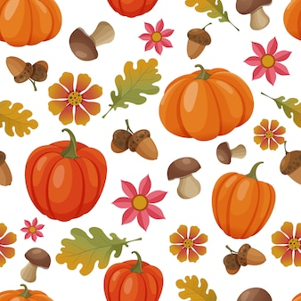 Seamless pattern with autumn elements