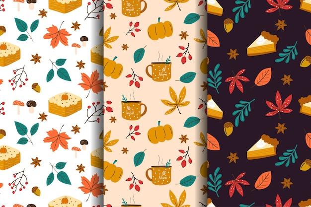秋の要素とのシームレスなパターン