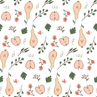 Бесшовный фон с осенними фруктами, нарезанными яблоками и грушами, рисованной плоский векторный элемент дизайна в стиле ...