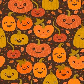 秋のハロウィーンのカボチャとのシームレスなパターン