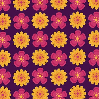 Seamless pattern with autumn indian flowers