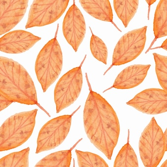 Seamless pattern with autumn leaf watercolor illustration