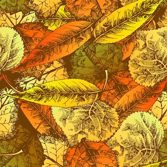 Бесшовный фон с осенними листьями. рисованной иллюстрации