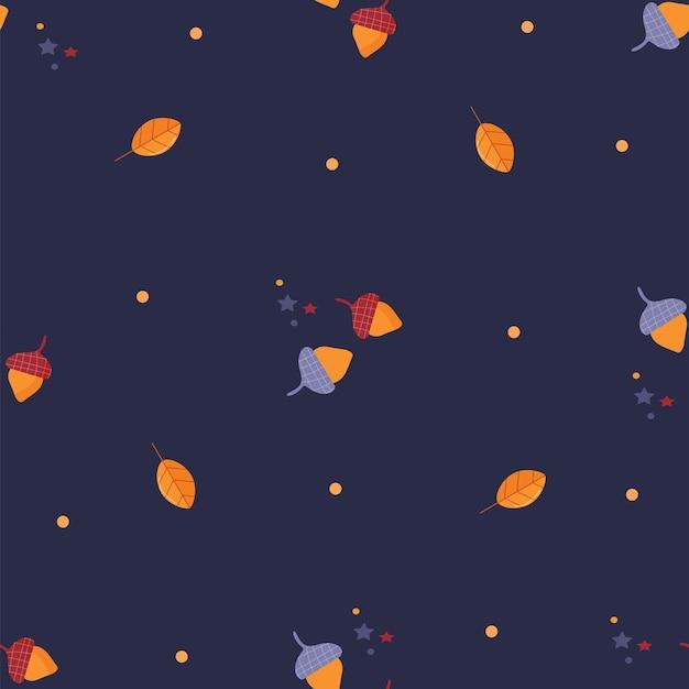 단풍과 도토리가 있는 원활한 패턴 진한 파란색에 도토리 잎이 있는 가을 패턴