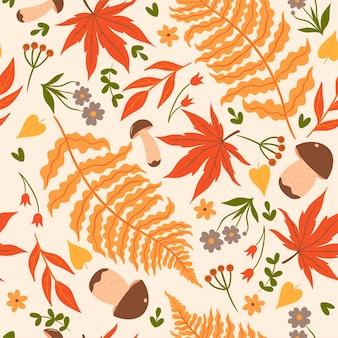 Бесшовный фон с осенними листьями и грибами. векторная графика.