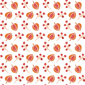 Seamless pattern with autumn leaves and berries in orange and brown colors