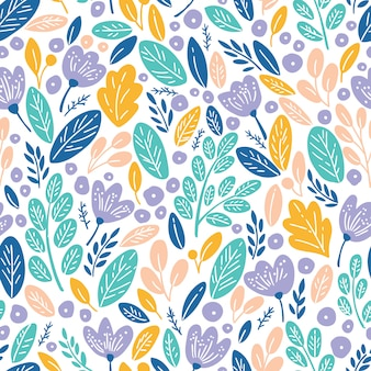 Seamless pattern with autumn leaves and flowers