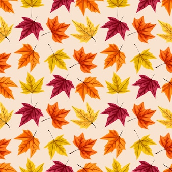 Seamless pattern with autumn leaves.  illustration