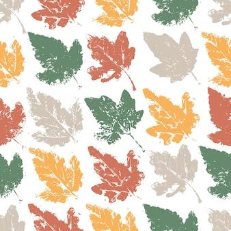 자연 그늘에 단풍과 완벽 한 패턴입니다. 흰색 바탕에 그런 지 스타일 텍스처와 나뭇잎.
