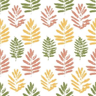 자연 그늘에 단풍과 완벽 한 패턴입니다. 그런 지 스타일 텍스처와 나뭇잎. 벡터