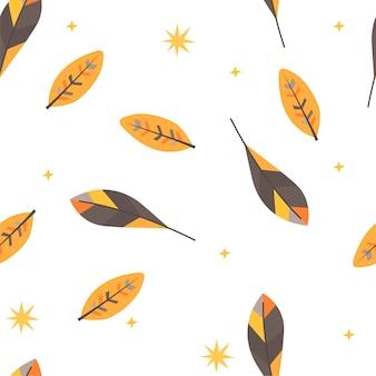 Бесшовный фон с осенними листьями в скандинавском стиле. рисование руки
