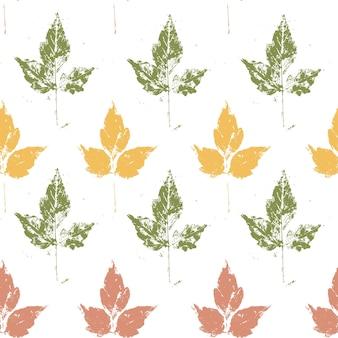 흰색 바탕에 단풍과 완벽 한 패턴입니다. 그런 지 스타일 텍스처와 나뭇잎. 벡터