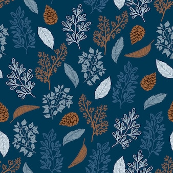 Seamless pattern with autumn leaves and pine cone with line doodle hand drawn style vector