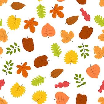 Бесшовный фон с осенними листьями. векторная иллюстрация.