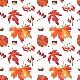 Бесшовный фон с осенними листьями Premium векторы