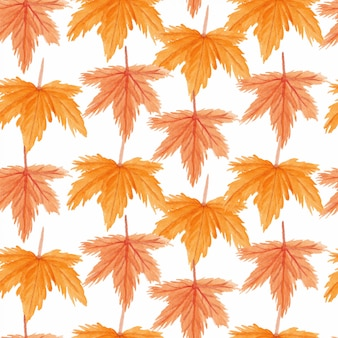 Seamless pattern with autumn maple leaf watercolor