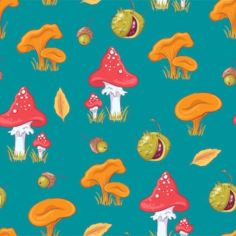 Seamless pattern with autumn mushrooms and chestnuts.