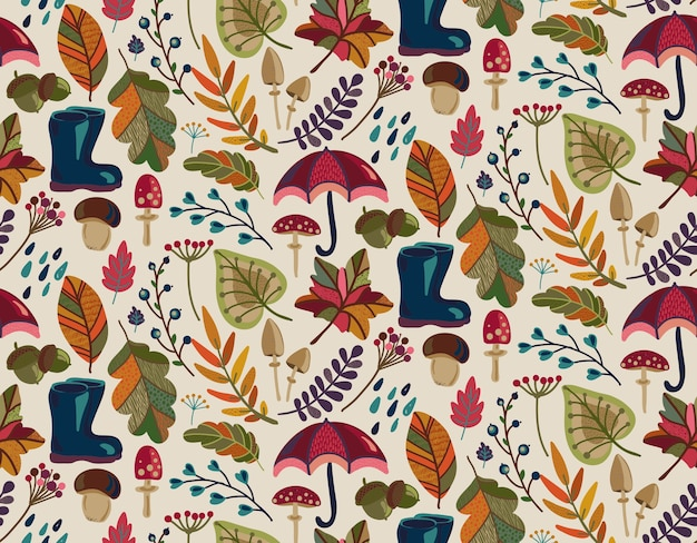Seamless pattern with autumn nature elements fall beautiful bright leaves flowers