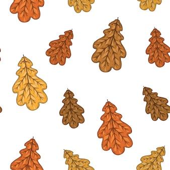 Бесшовный фон с осенними дубовыми листьями. иллюстрации.