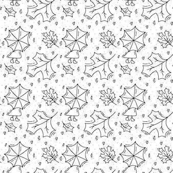 Seamless pattern with autumn oak leaves