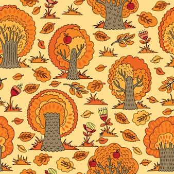 Бесшовный фон с осенними деревьями и цветами. иллюстрация, которую можно использовать в качестве обоев или оберточной бумаги