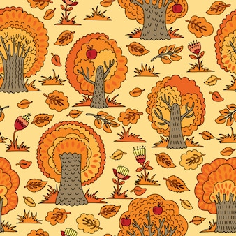 Seamless pattern with autumn trees and flowers. illustration which can be used as wallpaper or wrapping paper