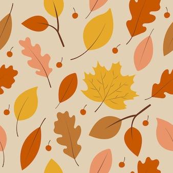 가을 노란색, 갈색, 주황색 잎이 있는 매끄러운 패턴