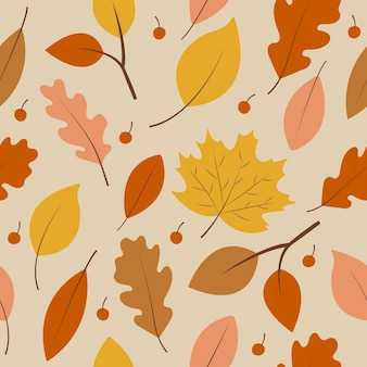 Seamless pattern with autumn yellow, brown and orange leaves