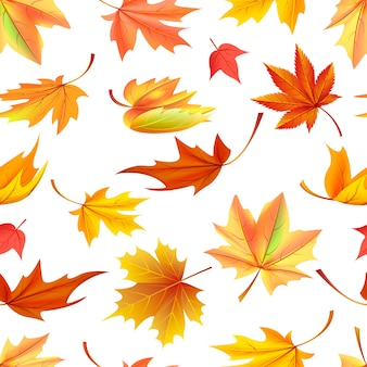 Seamless pattern with autumn yellow leaves, aging