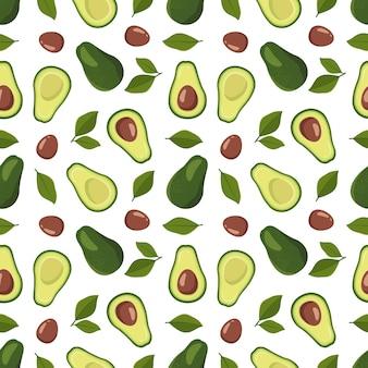 Бесшовный фон с авокадо и листьями