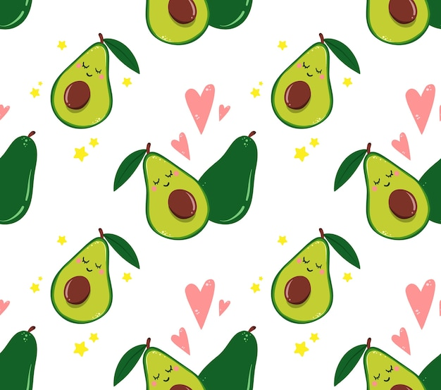 Seamless pattern with avocado and hearts