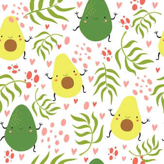 Seamless pattern with avocado and palm branches