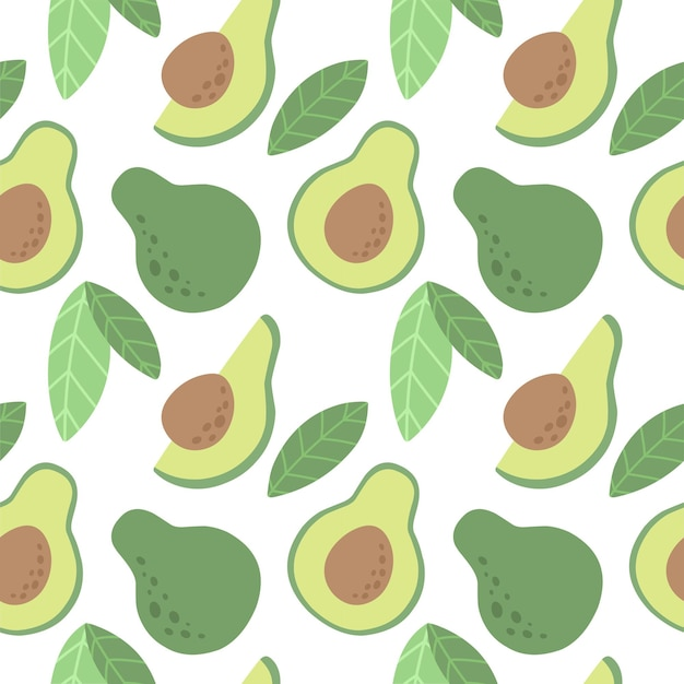 Seamless pattern with avocado vector pattern in the scandinavian style